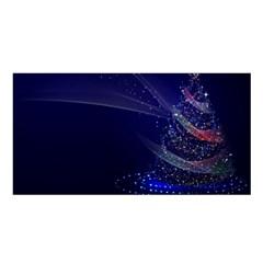 Christmas Tree Blue Stars Starry Night Lights Festive Elegant Satin Shawl by yoursparklingshop
