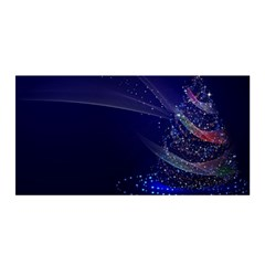 Christmas Tree Blue Stars Starry Night Lights Festive Elegant Satin Wrap by yoursparklingshop