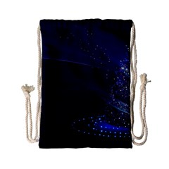 Christmas Tree Blue Stars Starry Night Lights Festive Elegant Drawstring Bag (small) by yoursparklingshop