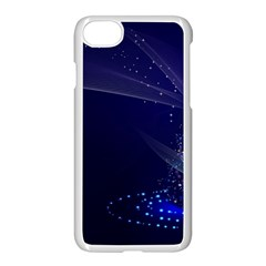 Christmas Tree Blue Stars Starry Night Lights Festive Elegant Apple Iphone 8 Seamless Case (white) by yoursparklingshop