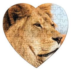 Big Male Lion Looking Right Jigsaw Puzzle (heart) by Ucco