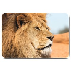 Big Male Lion Looking Right Large Doormat  by Ucco