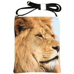 Big Male Lion Looking Right Shoulder Sling Bags by Ucco