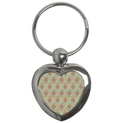 Hexagon Tile Pattern 2 Key Chains (heart)  by Cveti