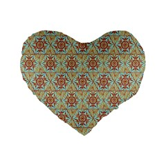 Hexagon Tile Pattern 2 Standard 16  Premium Flano Heart Shape Cushions by Cveti