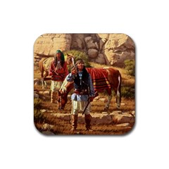 Apache Braves Rubber Square Coaster (4 Pack)  by allthingseveryone
