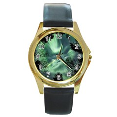 Northern Lights In The Forest Round Gold Metal Watch by Ucco