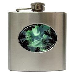 Northern Lights In The Forest Hip Flask (6 Oz) by Ucco