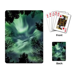 Northern Lights In The Forest Playing Card by Ucco