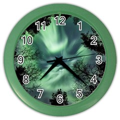 Northern Lights In The Forest Color Wall Clocks by Ucco
