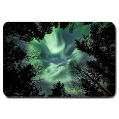 Northern Lights In The Forest Large Doormat  by Ucco