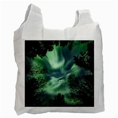 Northern Lights In The Forest Recycle Bag (two Side)  by Ucco