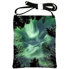 Northern Lights In The Forest Shoulder Sling Bags by Ucco