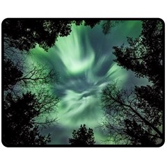 Northern Lights In The Forest Fleece Blanket (medium)  by Ucco