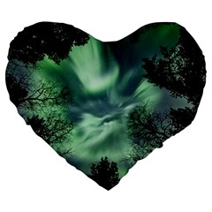 Northern Lights In The Forest Large 19  Premium Heart Shape Cushions by Ucco