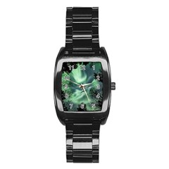 Northern Lights In The Forest Stainless Steel Barrel Watch by Ucco