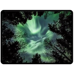 Northern Lights In The Forest Double Sided Fleece Blanket (large)  by Ucco