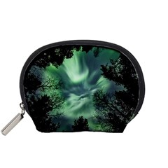 Northern Lights In The Forest Accessory Pouches (small)  by Ucco