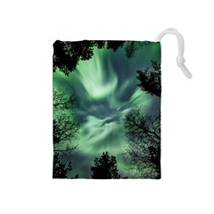 Northern Lights In The Forest Drawstring Pouches (medium)  by Ucco