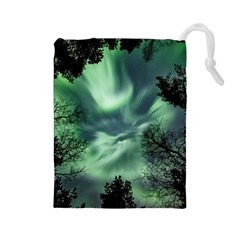 Northern Lights In The Forest Drawstring Pouches (large)  by Ucco