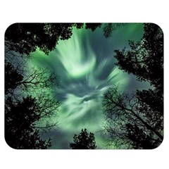 Northern Lights In The Forest Double Sided Flano Blanket (medium)  by Ucco