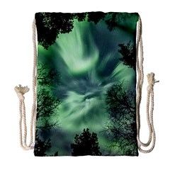 Northern Lights In The Forest Drawstring Bag (large) by Ucco
