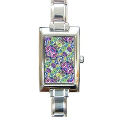 Colorful Modern Floral Print Rectangle Italian Charm Watch by dflcprints