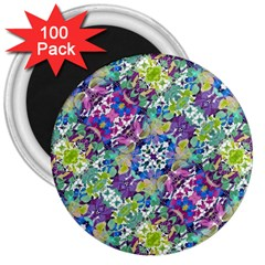 Colorful Modern Floral Print 3  Magnets (100 Pack) by dflcprints