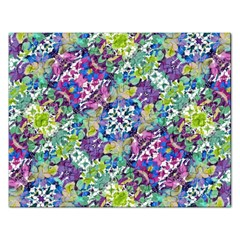 Colorful Modern Floral Print Rectangular Jigsaw Puzzl by dflcprints