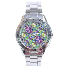 Colorful Modern Floral Print Stainless Steel Analogue Watch by dflcprints