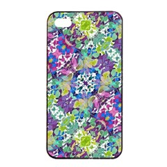 Colorful Modern Floral Print Apple Iphone 4/4s Seamless Case (black) by dflcprints