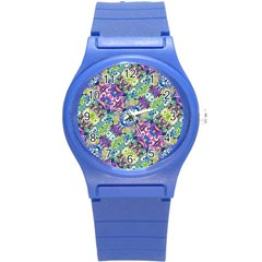 Colorful Modern Floral Print Round Plastic Sport Watch (s) by dflcprints