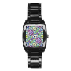 Colorful Modern Floral Print Stainless Steel Barrel Watch by dflcprints