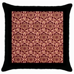 Flower Star Pattern  Throw Pillow Case (black) by Cveti