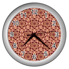 Flower Star Pattern  Wall Clocks (silver)  by Cveti
