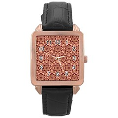 Flower Star Pattern  Rose Gold Leather Watch  by Cveti