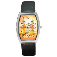 Happy Thanksgiving With Pumpkin Barrel Style Metal Watch by FantasyWorld7