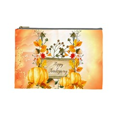 Happy Thanksgiving With Pumpkin Cosmetic Bag (large)  by FantasyWorld7