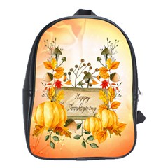 Happy Thanksgiving With Pumpkin School Bag (large) by FantasyWorld7
