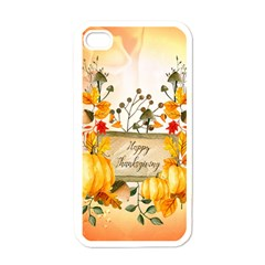 Happy Thanksgiving With Pumpkin Apple Iphone 4 Case (white) by FantasyWorld7