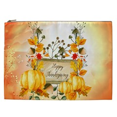 Happy Thanksgiving With Pumpkin Cosmetic Bag (xxl)  by FantasyWorld7