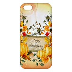 Happy Thanksgiving With Pumpkin Apple Iphone 5 Premium Hardshell Case by FantasyWorld7