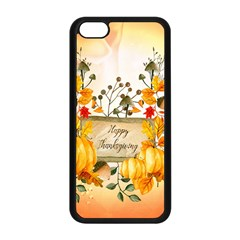 Happy Thanksgiving With Pumpkin Apple Iphone 5c Seamless Case (black) by FantasyWorld7
