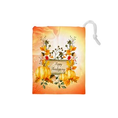 Happy Thanksgiving With Pumpkin Drawstring Pouches (small)  by FantasyWorld7