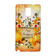 Happy Thanksgiving With Pumpkin Samsung Galaxy Note 4 Hardshell Case by FantasyWorld7