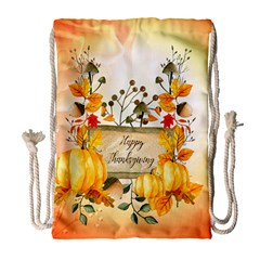 Happy Thanksgiving With Pumpkin Drawstring Bag (large) by FantasyWorld7