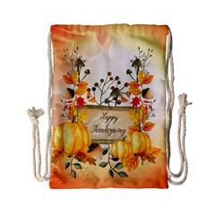 Happy Thanksgiving With Pumpkin Drawstring Bag (small) by FantasyWorld7