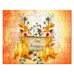 Happy Thanksgiving With Pumpkin Rectangular Jigsaw Puzzl by FantasyWorld7