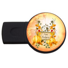 Happy Thanksgiving With Pumpkin Usb Flash Drive Round (4 Gb) by FantasyWorld7