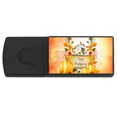 Happy Thanksgiving With Pumpkin Rectangular Usb Flash Drive by FantasyWorld7